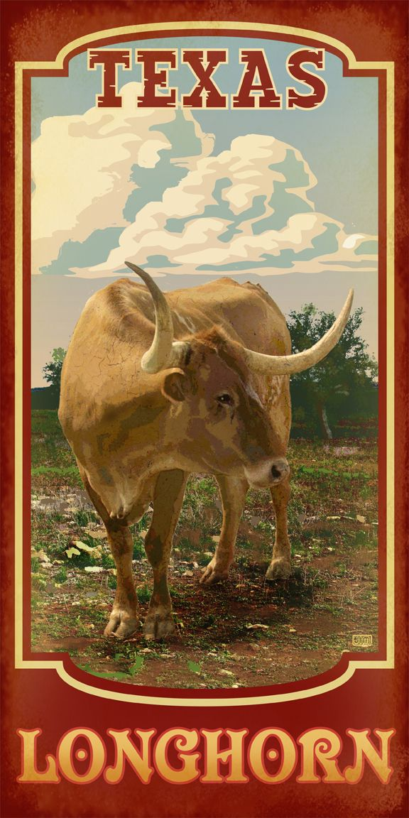 The quintessential Texas symbol. Texas Longhorn from TexasPoster.com