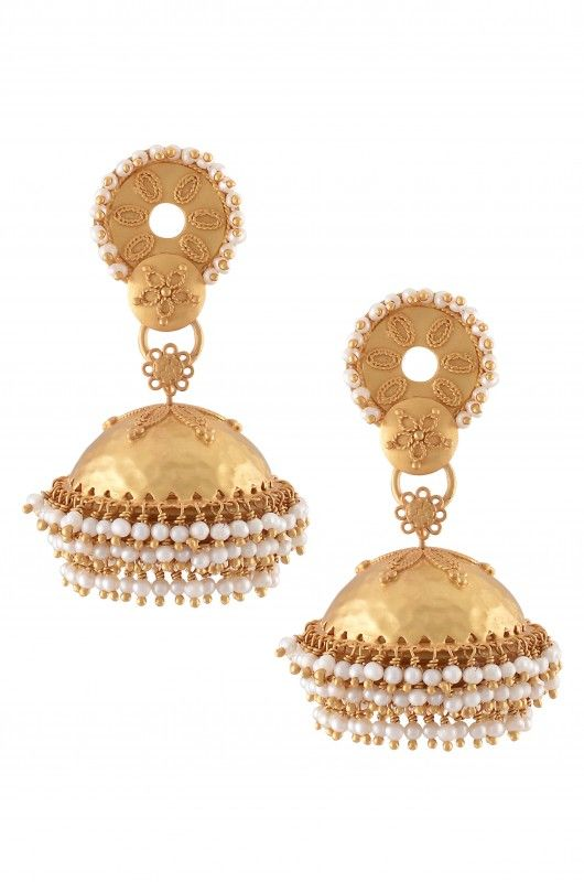 Silver Gold Plated Hammered Pearl Jhumki Earrings