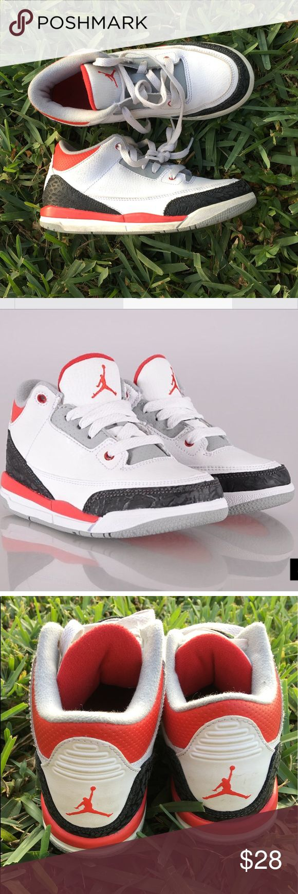 Nike Air Jordan Retro 3 Black White Fire Red Gray Air Jordan retroes will never go out of style. So many colorways have impacted the shoe game and of course are legendary because they were worn by MJ himself during many of his court achievements. The Air Jordan 3 Fire Red is a model adored by the masses. First released in 1988, the sneaker was one of the three OG colorways worn by MJ. Little boys size 3Y. Worn but in really good shape. Original price $175! Jordan Shoes Sneakers
