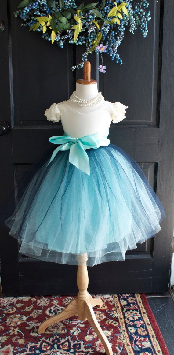 Girls Navy Aqua Mint Sewn Tulle Skirt Aqua by MaidenLaneBoutique