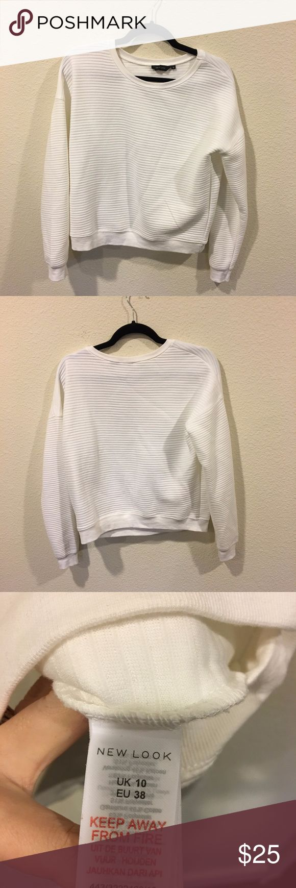 New Look white striped sweatshirt Classic white jumper! From the Real Fashionista blog. No trades. New Look Tops Sweatshirts & Hoodies