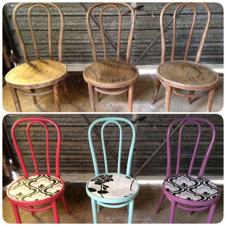 Three chairs I upcycled - before and after. Am obsessed with bright colours, add a pop of wow to your home with accent pieces like this.   facebook.com/homecandynz