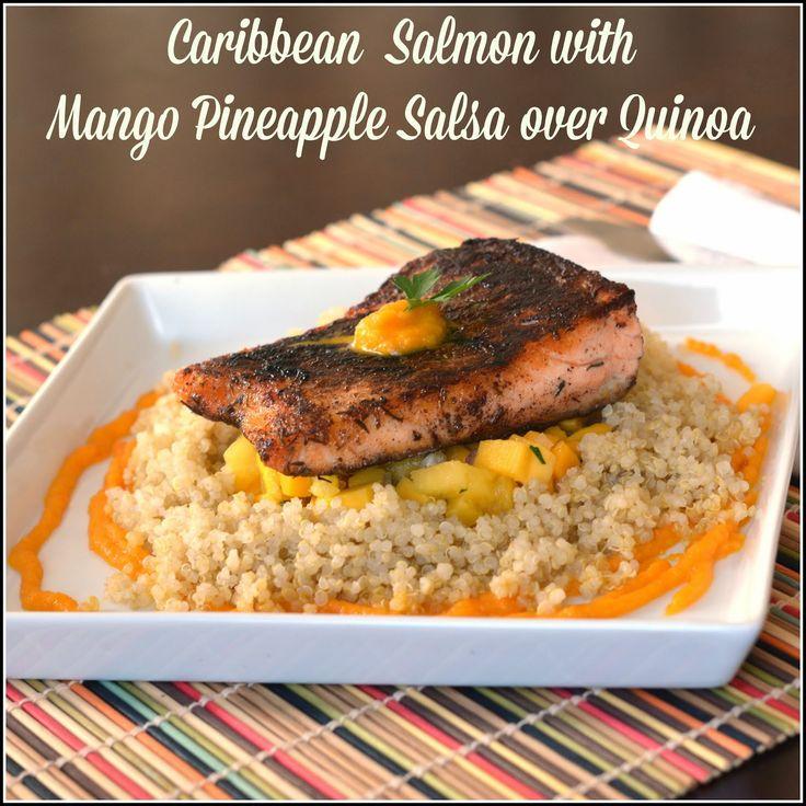 Caribbean Jerk Salmon and Mango Pineapple Salsa with mango puree over Quinoa