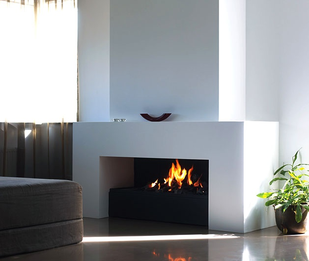 contemporary fireplace w/ mantle