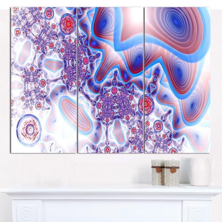 "DESIGN ART Designart 'Beautiful Extraterrestrial Life Cells' Modern Floral Artwork - 36""x28"" 3 Panels"
