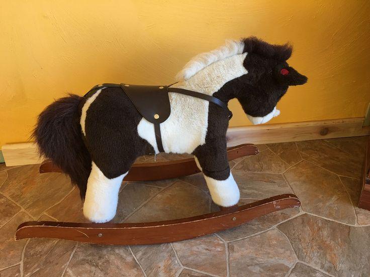Chrisha Playful Plush Rocking Horse Child Toddler Neighs Wood Rockers Boy Girl #CHARISHA