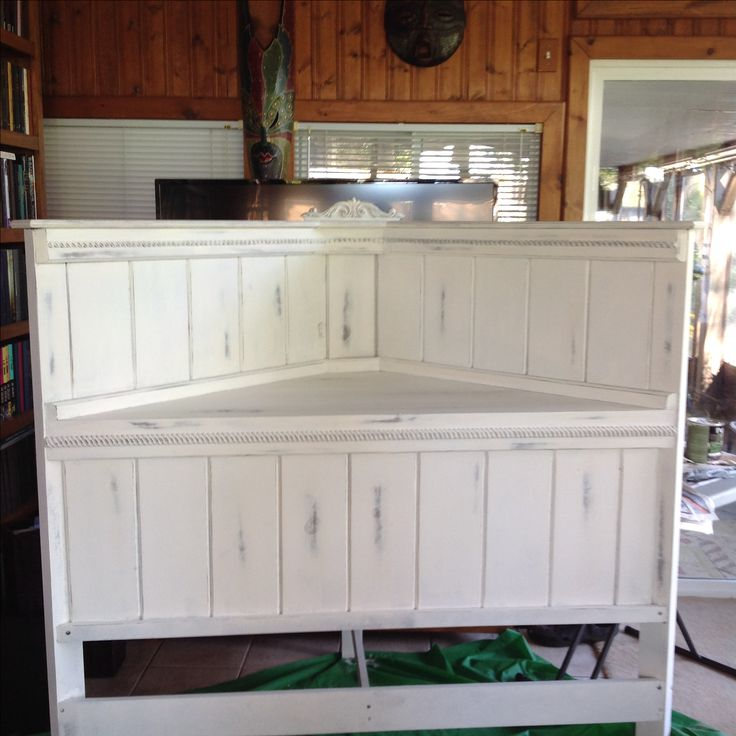 Corner headboard. Custom made. White distressed.