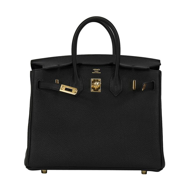 2014 HERMES Birkin Bag 25cm Black Veau Togo Gold Hardware | From a collection of rare vintage handbags and purses at https://www.1stdibs.com/fashion/accessories/handbags-purses/