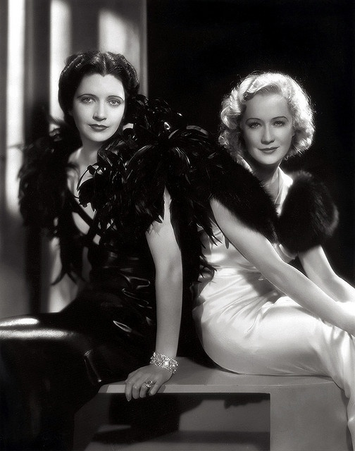 Kay Francis and Miriam Hopkins on the set of Trouble in Paradise (1932).