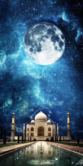 """The Taj Mahal  ※CG Meaning """"crown of palaces"""", it is awhite marble mausoleum...built in memory of the favorite wife of the Mughal emperorShah Jahan...""""   """"The Taj Mahal is widely recognized as """"the jewel of Muslim art in India and one of the universally admired masterpieces of the world's heritage"""".  http://whc.unesco.org/en/list/252"""