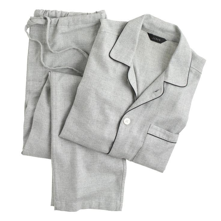 J.Crew men's heathered flannel pajama set in heather pewter.