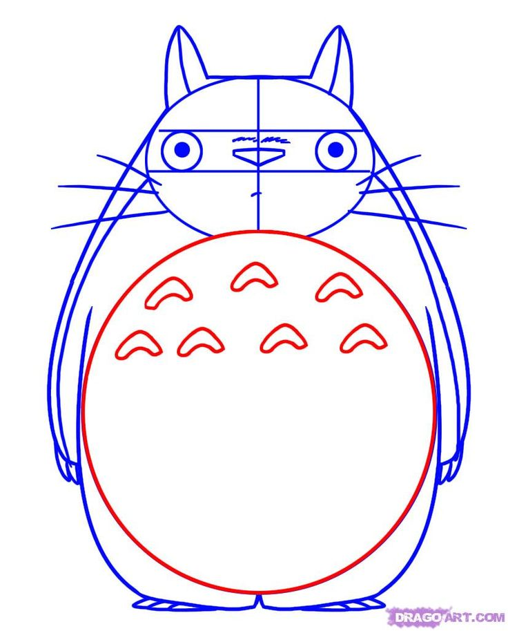 how to draw totoro from my neighbor totoro step 4