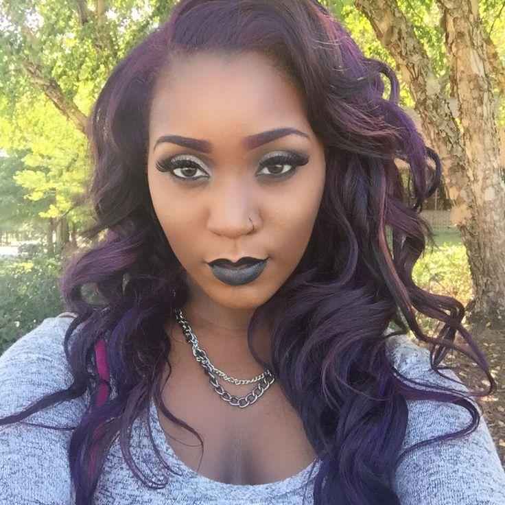 purple hair black girl dark skinned