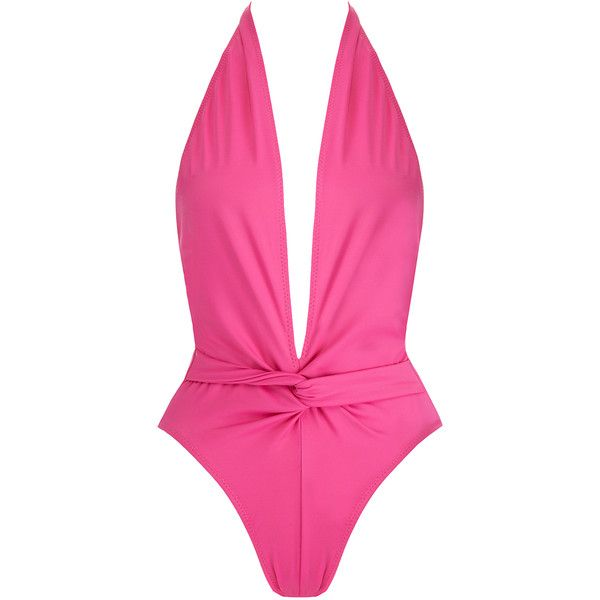 Norma Kamali Twister Mio Fuschia Pink Plunge Neck High-Leg Swimsuit ($140) ❤ liked on Polyvore featuring swimwear, one-piece swimsuits, pink, pink bathing suits, halter top one piece swimsuit, halter swimsuit tops, swimsuit swimwear and low back one piece swimsuit