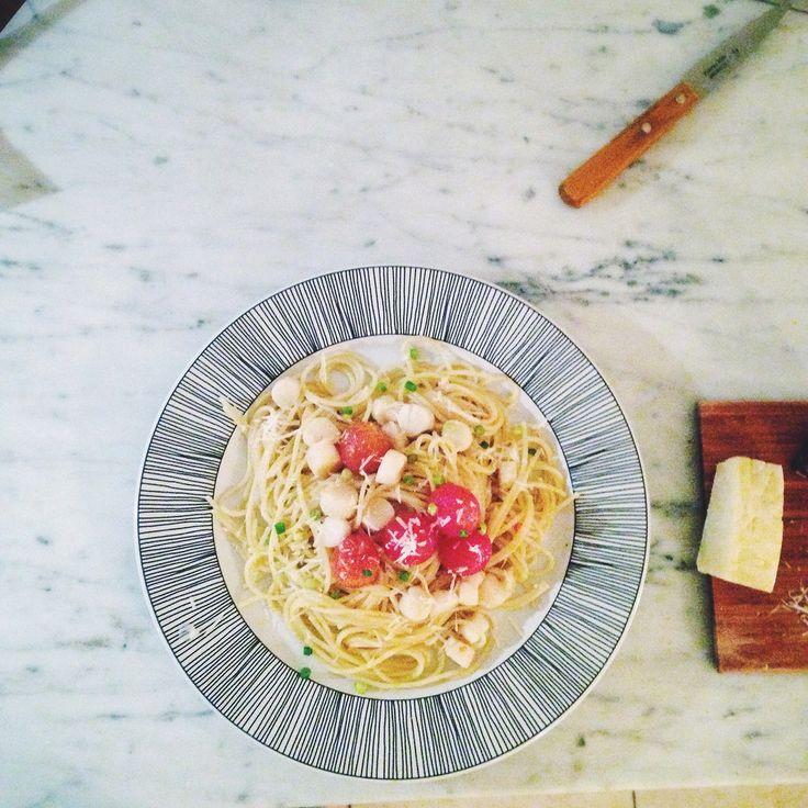 pasta med pilgrimsmusslor ovh tomat