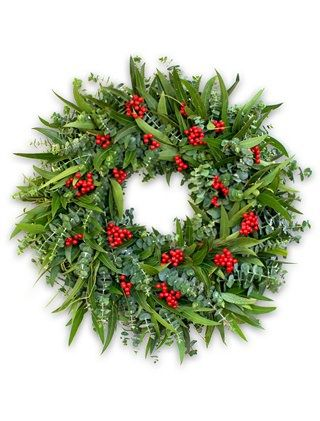 Eucalyptus Berry WreathHoliday Wreaths, Balsamic Hills, Christmas Cheer, Berries Wreaths, Winter Eucalyptus Wreaths, Christmas Decor, Crafts Christmas, Christmas Ideas, Eucalyptus Berries