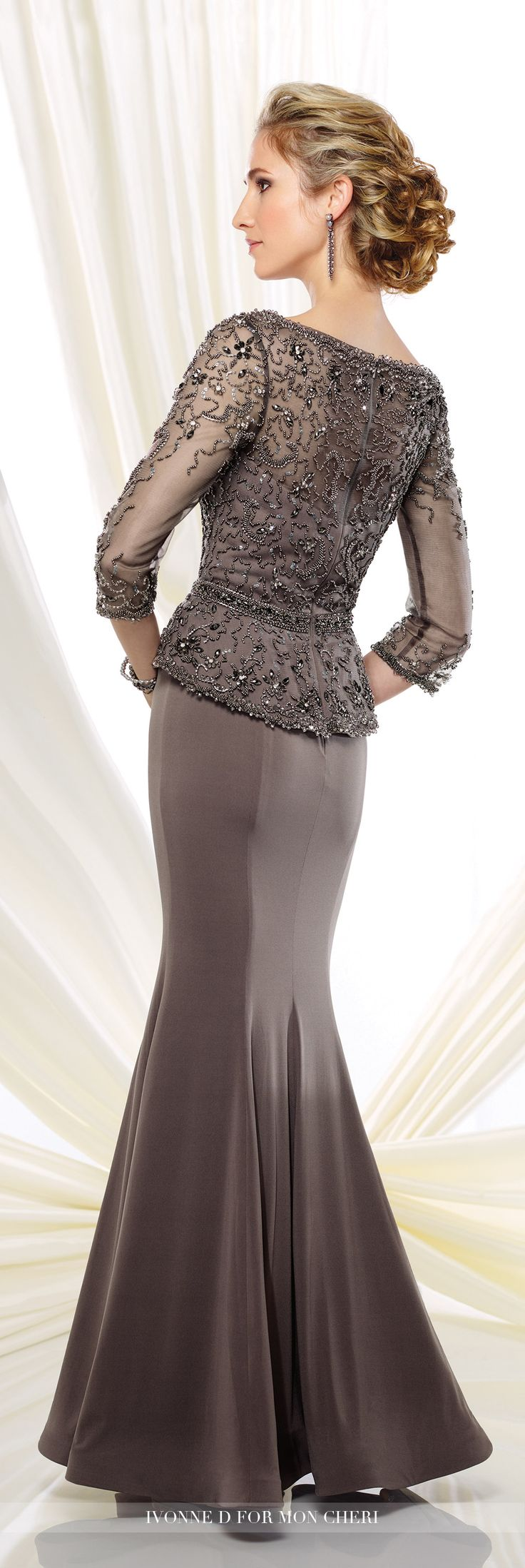 Formal Evening Gowns by Mon Cheri - Fall 2016 - Style No. 216D46 - jersey trumpet evening dress with illusion 3/4 length sleeves