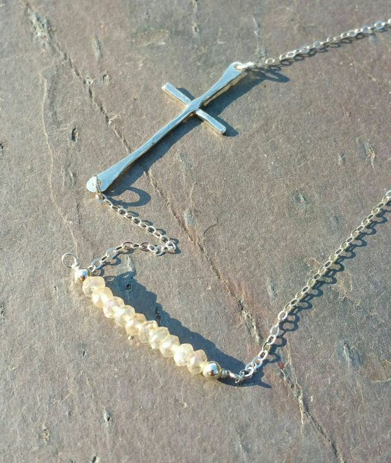 Sideways Cross Necklace Row Necklace by MaggieMcManeDesigns