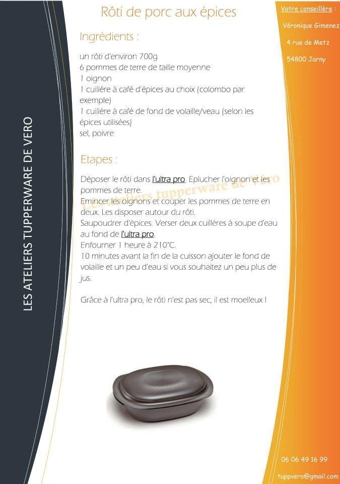 Rôti de porc aux épices recette ultra pro https://www.facebook.com/Les-ateliers-tupperware-de-V%C3%A9ro-426295820791943/timeline/