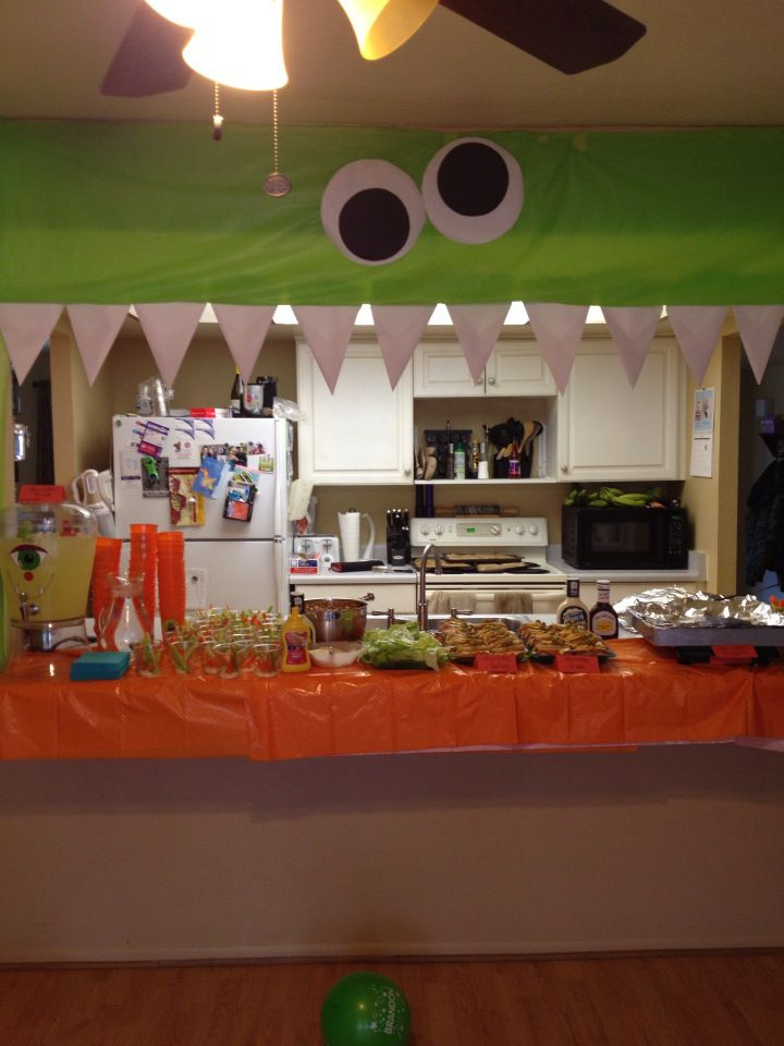 Monster party decorations and food.