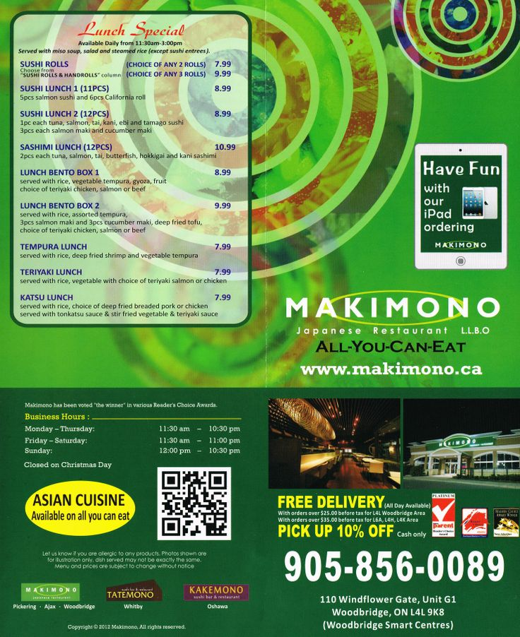 Makimono Japanese Restaurant menu