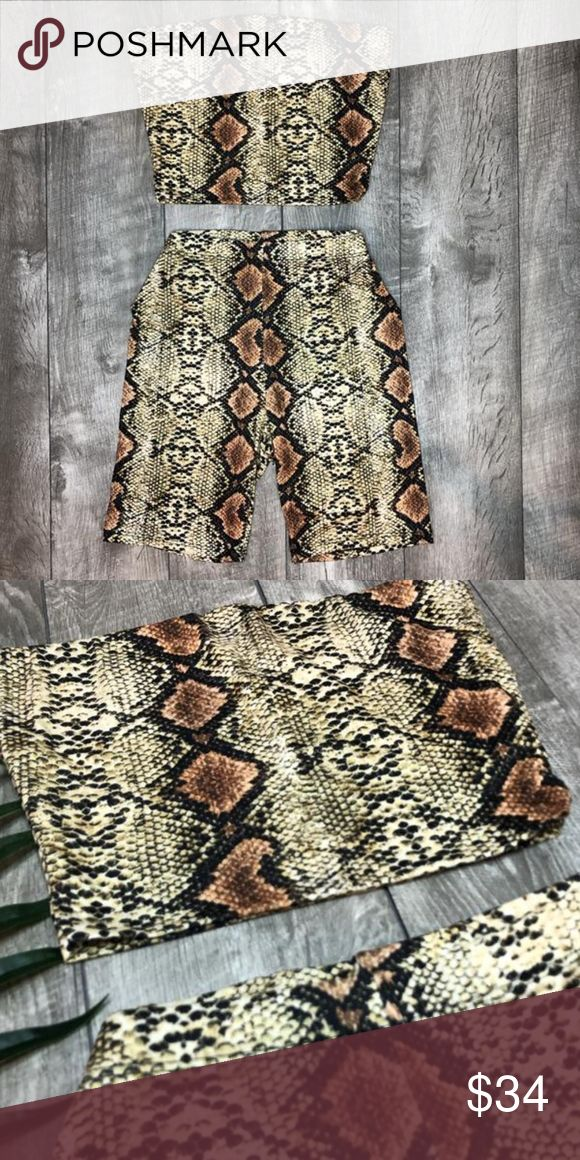 NEW Snake Print Bikers Shorts Set 95% Polyester 5% Spandex  Price is firm.  Fash...