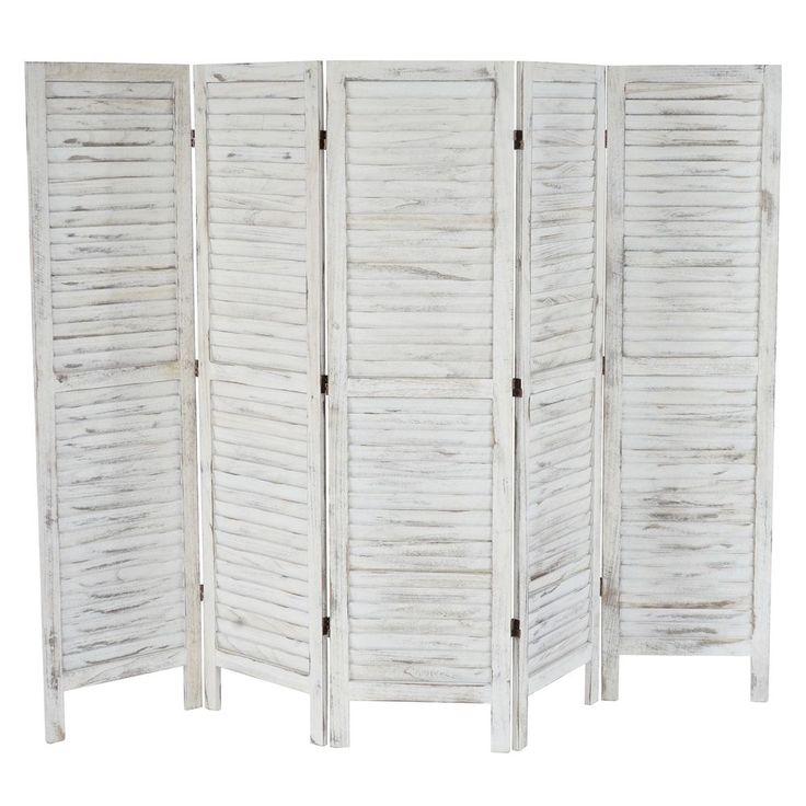 Paravent Raumteiler 170x228x2cm, Shabby-Look, Vintage weiß