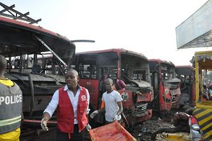 The aftermath of a bomb explosion on April 14 that killed more than 71 people in a bus station near Nigeria's capital city of Abuja. More than 1,000 killed in escalating violence in Nigeria since this December, yet authorities in the country make no moves toward justice.