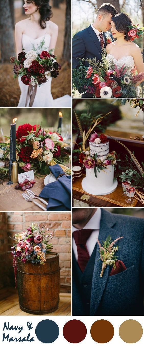 fall wedding inspiration   navy blue and marsala autumn color palette  
