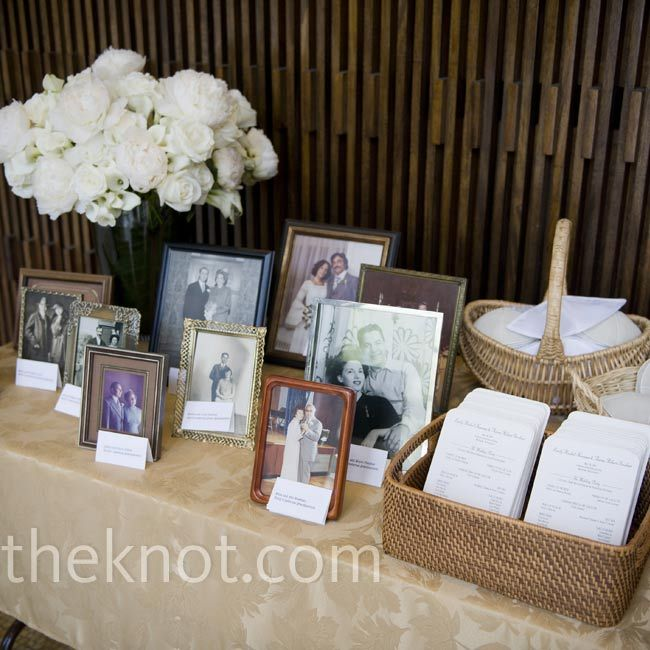 Display your parents' and grandparents' wedding photos on the entry table or the cake table, creating a sense of history at your wedding and honoring them at the same time.