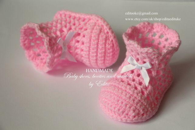 Вязание крючком детские ботинки, пинетки, туфли летние, девочка, белый, розовый, 3-6 мес