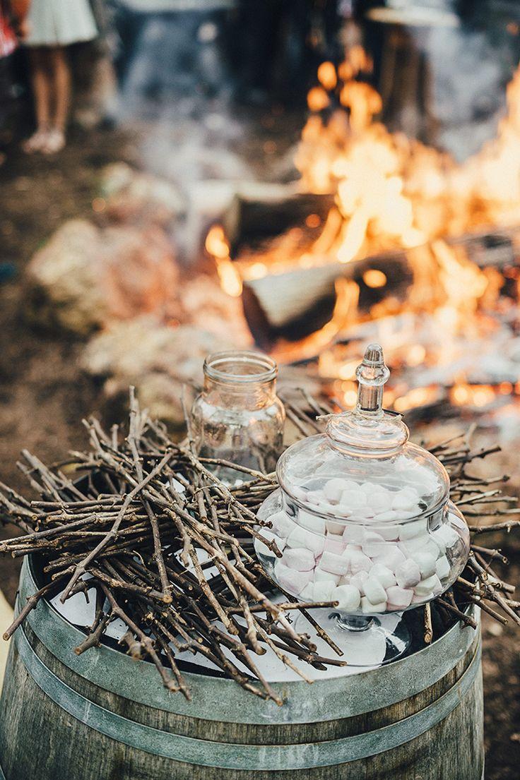 Marshmallow roasting station at country wedding | iZO Photography | See more: http://theweddingplaybook.com/romantic-australian-bush-wedding/