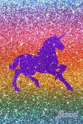 Journal Faux Rainbow Glitter Purple Sparkles Unicorn Not
