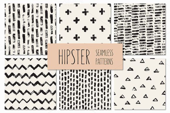 Hipster Seamless Patterns by Curly_Pat on Creative Market