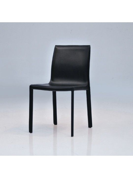 Fleur Dining Chair in Black Leather 2/Box by Mobital | DCHFLEUBLAC | Mobital
