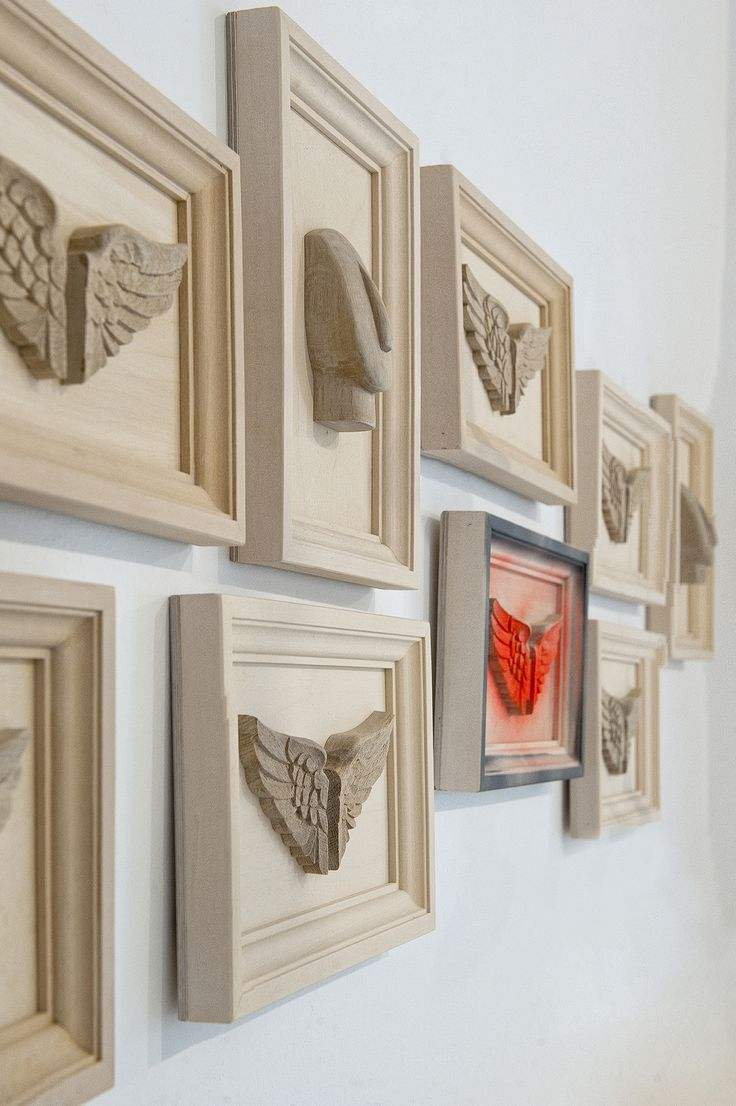 Hand sculptured Wooden frames of the Cycladic figure and the Wings of Hermes