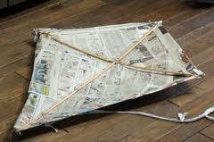 We made many newspaper kites! So proud when one of them sailed better than the other  kids!