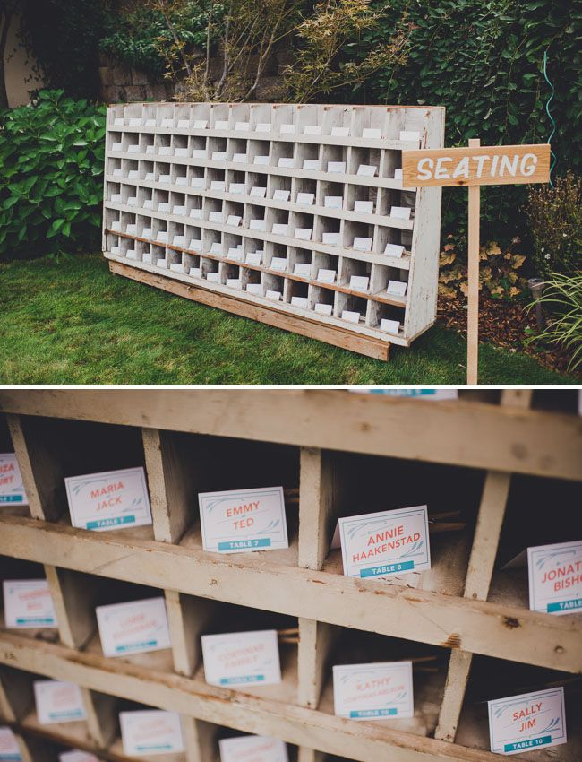 little cubbies make for an interesting and fun way to display escort cards.   www.trixandtrumpet.com