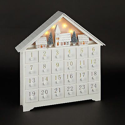 NEW WHITE WOOD PRE-LIT LED CHRISTMAS XMAS ADVENT CALENDAR DECORATION ORNAMENT | Home, Furniture & DIY, Celebrations & Occasions, Christmas Decorations & Trees | eBay!
