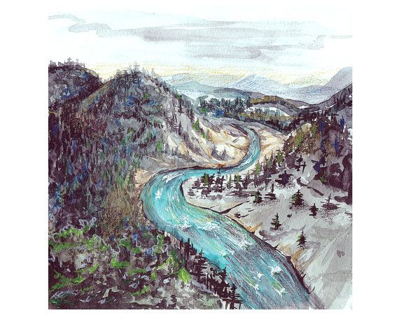 mountain river  water gap  stream  print from by songhillpics