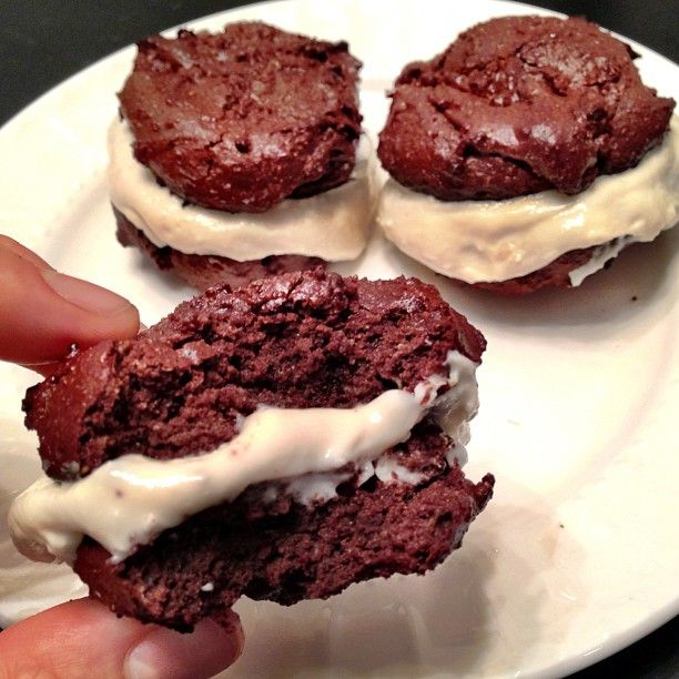 """Protein """"Oreos"""". Chocolate cookies: combine 1c almond meal with 1c cocoa powder, 1 egg, 1/4c unsweetened applesauce, 1t vanilla, 1/4c agave (or honey), 1t baking powder, and 1 scoop of chocolate whey protein powder. Bake at 350F for 10 minutes. Frosting: blend 1/4c cottage cheese with 1/4c plain Greek yogurt, 1/2T honey, 1/2 scoop vanilla casein protein, and a bit of unsweetened almond milk (just to help blend)"""