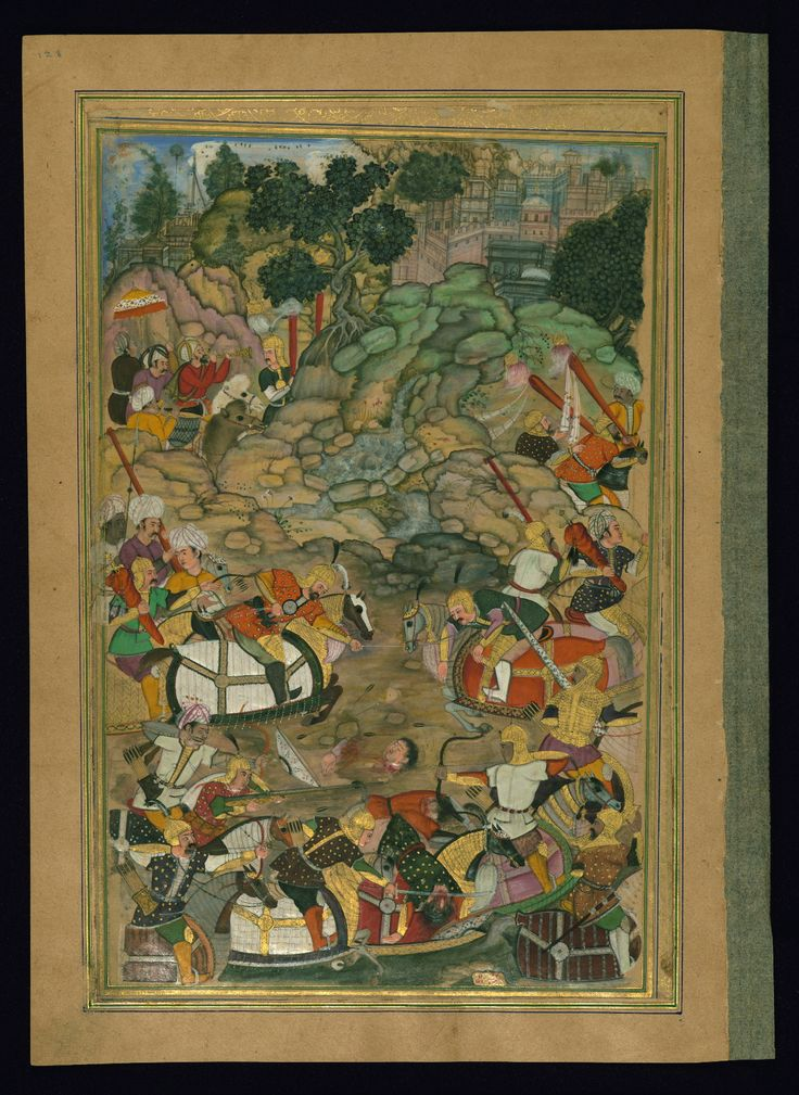 Alexander the Great lassos an opponent - Text: Āʾīnah-i Sikandarī Label: This illustration depicts one of the many battles fought by Alexander the Great, who is celebrated in the Islamic tradition as one of the great historic rulers. The painting is inscribed Jagannāth in red ink. - W624