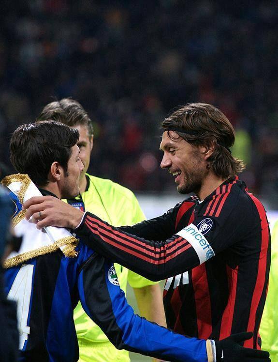 Paolo Maldini with Javier Zanetti