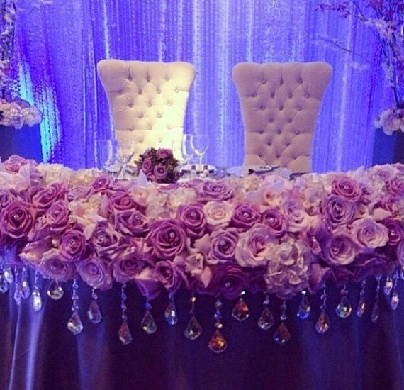 Crystal And White Wedding Theme: Amazing Sweetheart Table Flower Banner Decor By