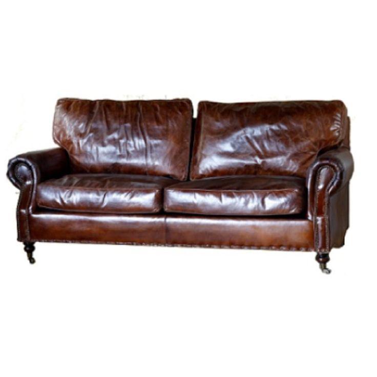 Aged Italian Leather Kensington 3 Seater - Living