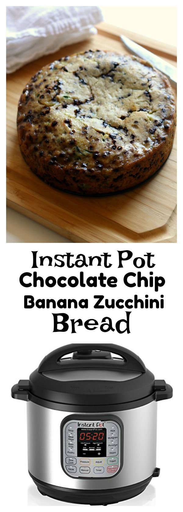 Instant Pot Chocolate Chip Zucchini Banana Bread–a moist quick bread (cake?) that is a cross between banana and zucchini bread. The bonus is that it's got mini chocolate chips too and it's made in your electric pressure cooker. #instantpot