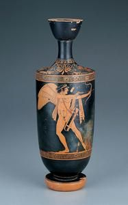Red-Figure Lekythos Showing Eros in the Role of Archer | Kimbell Art Museum Greek 300 BC