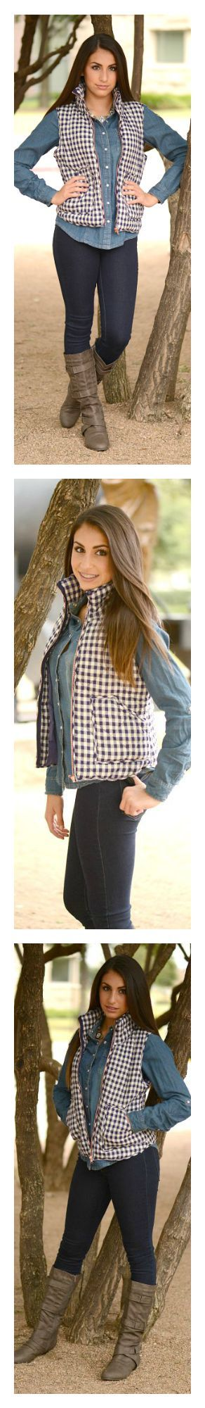 The best fall vest! Gorgeous gingham print that  is so transitional! This vest is must have for fall and winter!
