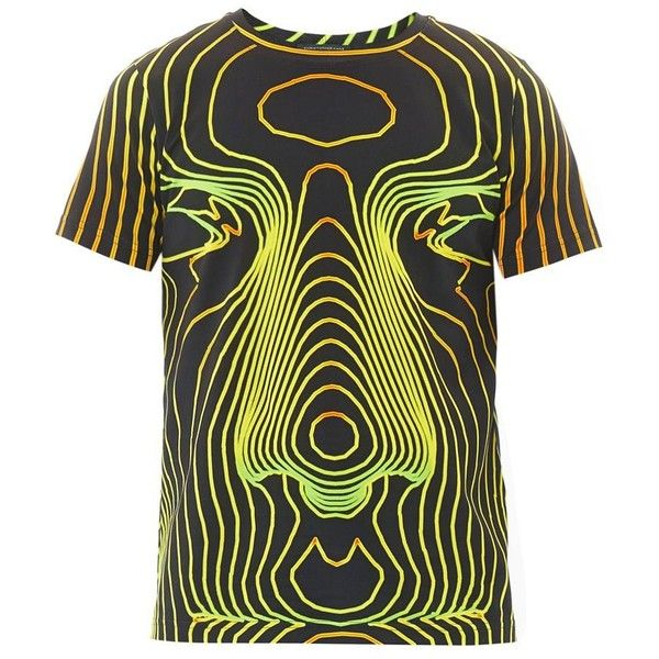 CHRISTOPHER KANE Face digital-print T-shirt ($115) ❤ liked on Polyvore featuring men's fashion, men's clothing, men's shirts, men's t-shirts, tops, yellow, mens neon shirts, mens crew neck t shirts, mens crew neck shirts and mens neon t shirts