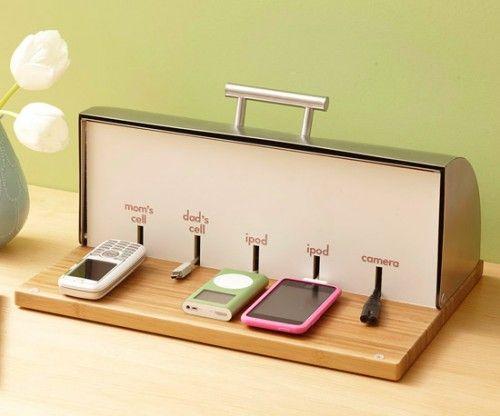DIY breadbox charger organizer!!! :o
